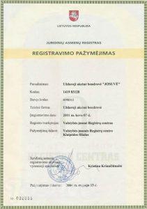 josuve sertifikatas